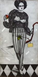 Bellver Fernando, Eva, grabado aguafuerte coloreado a mano, numerado p-montaje y firmado a lápiz, 97x49 cms (8)