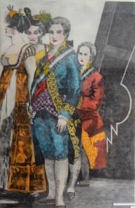 Bellver Fernando, Familia de Carlos IV, grabado aguafuerte coloreado a mano, tríptico. 111X77 cm (cada uno, con marco) y 98X64 cm (cada uno, sin marco) (13)