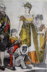 Bellver Fernando, Familia de Carlos IV, grabado aguafuerte coloreado a mano, tríptico. 111X77 cm (cada uno, con marco) y 98X64 cm (cada uno, sin marco) (3)