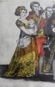 Bellver Fernando, Familia de Carlos IV, grabado aguafuerte coloreado a mano, tríptico. 111X77 cm (cada uno, con marco) y 98X64 cm (cada uno, sin marco) (8)