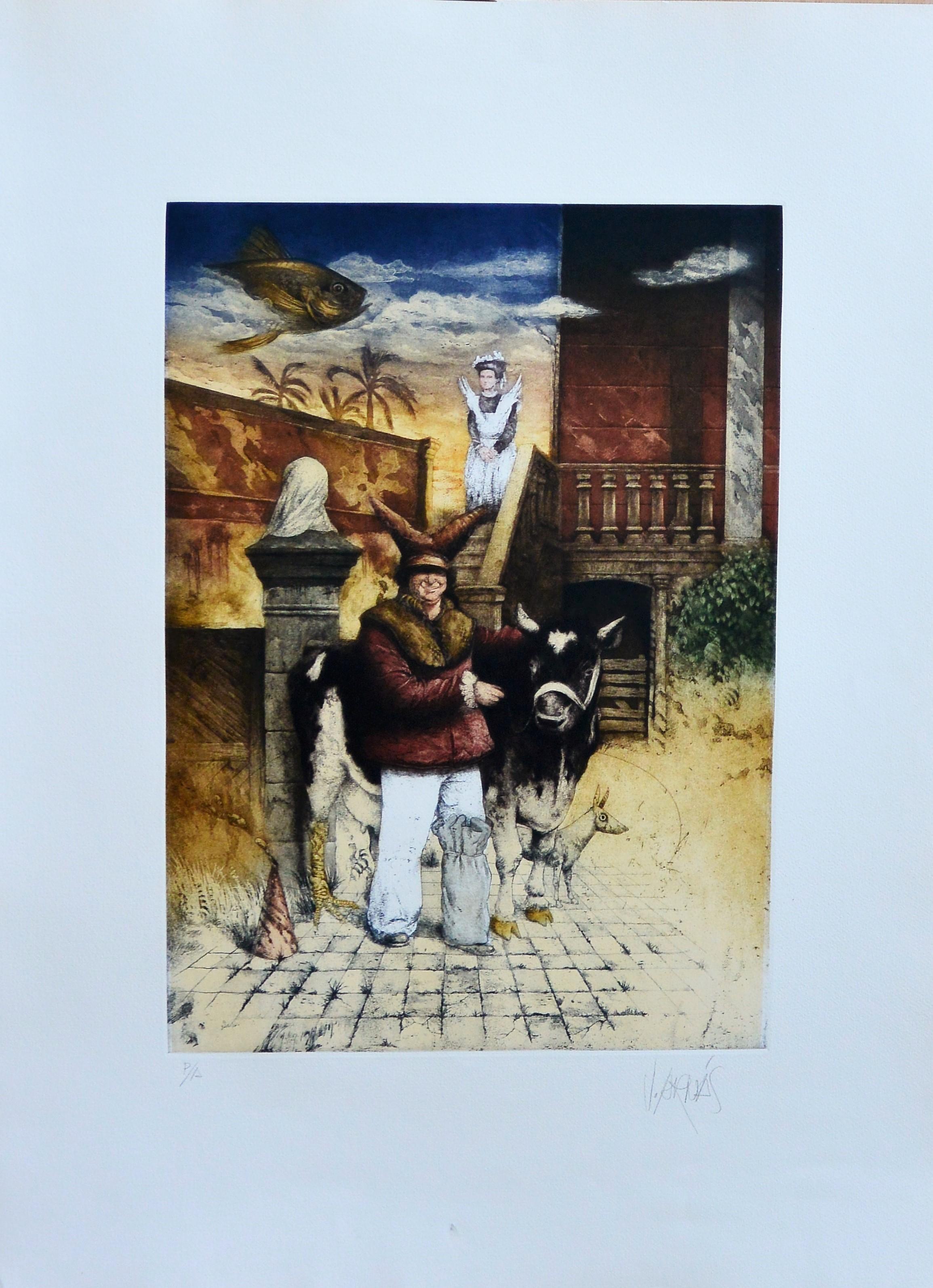 """Vicente Arnas – """"Granja surrealista"""" grabado aguafuerte y aguatinta ..."""
