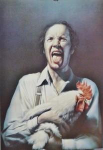 Gottfried Helnwein , cartel original, hombre con gallo, 84x59 cms
