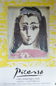 Picasso Pablo cartel original exposición Chez Dominique Sassi, 77x50 cms 50 (3)