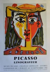 Picasso Pablo, cartel original exposición Linograveur en Museo Picasso Antibes en 1.988, 74x52 cms (1)