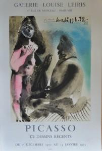 Picasso Pablo cartel original exposición en Galerie Louise Leiris, 172 dessins, 73x48 40 (1)