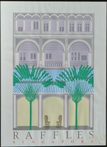 Raffles, Singapore, cartel original impresión litográfica, enmarcado, 86x64 cms (2)