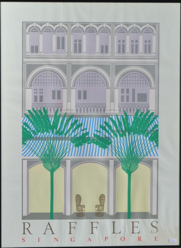 Raffles, Singapore, cartel original impresión litográfica, enmarcado, 86×64 cms (2)