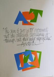 Art IBM, firmado, con frase de Aristóteles, 84x60 cm