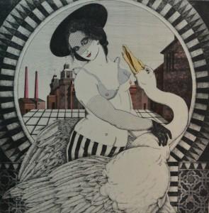 Bellver Fernando, Leda y el cisne, grabado aguafuerte, 97x97