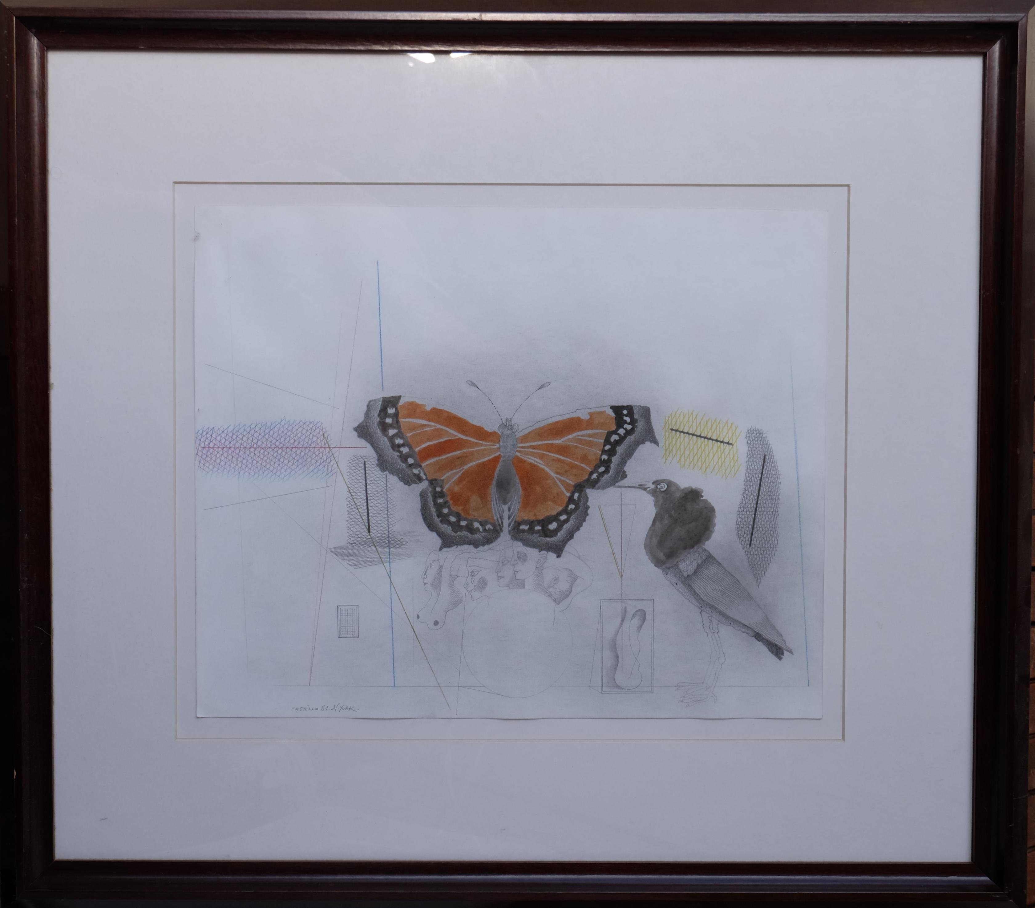"""Jorge Castillo – """"Pájaro y mariposa"""" dibujo original técnica mixta ..."""