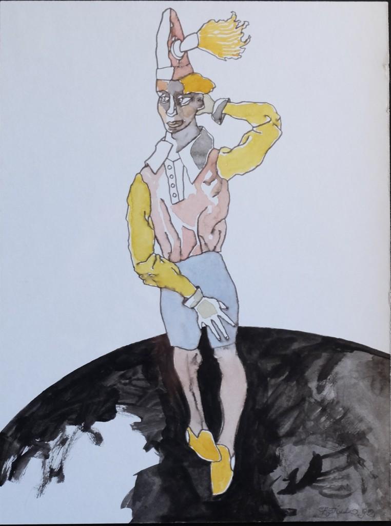 Castillo Jorge, personaje de circo, tinta china y gouasche papel pegado a tabla, enmarcado, dibujo 39×30 cms. y marco 58×48 cms. 1200 (1)
