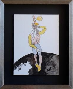 Castillo Jorge, personaje de circo, tinta china y gouasche papel pegado a tabla, enmarcado, dibujo 39x30 cms. y marco 58x48 cms. 1200 (5)