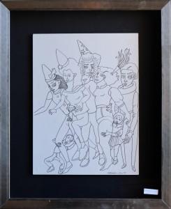 Castillo Jorge, personajes de circo, tinta china papel pegado a tabla, enmarcado, dibujo 39x30 cms. y marco 58x48 cms. 1200 (8)