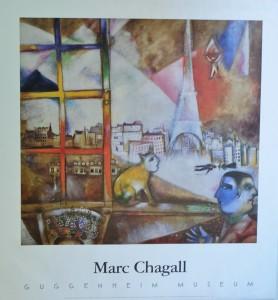 Chagall Marc, Paris par la fenêtre, cartel original exposición en el Guggenheim Museum New York, 71x66 cms. 30 (2)