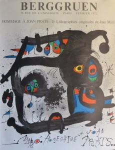 Miró Joan, Hommage a Joan Prats, cartel original impresión litográfica exposición en la galeria Berggruen, 76x58 cms. (5)