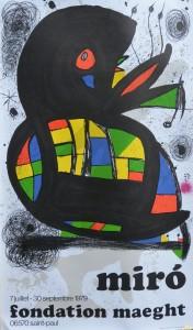 Miró Joan, cartel original impresión litográfica exposición en la Fondation Maeght en 1979, 85x50 cms. (2)