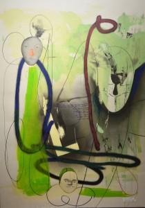 Pagola Javier, Faces, monotipo, pieza única, firmado e intervenido a mano, enmarcado, papel 140x100 y marco 149x109 cms (5)