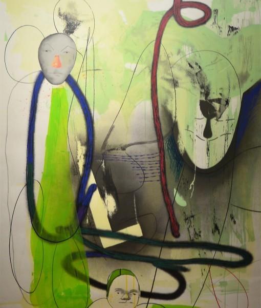 Pagola Javier, Faces, monotipo, pieza única, firmado e intervenido a mano, enmarcado, papel 140×100 y marco 149×109 cms (5)
