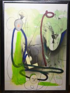 Pagola Javier, Faces, monotipo, pieza única, firmado e intervenido a mano, enmarcado, papel 140x100 y marco 149x109 cms (7)