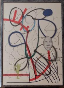 Pagola Javier, monotipo, pieza única, firmado e intervenido a mano, con marco 150x109 cm