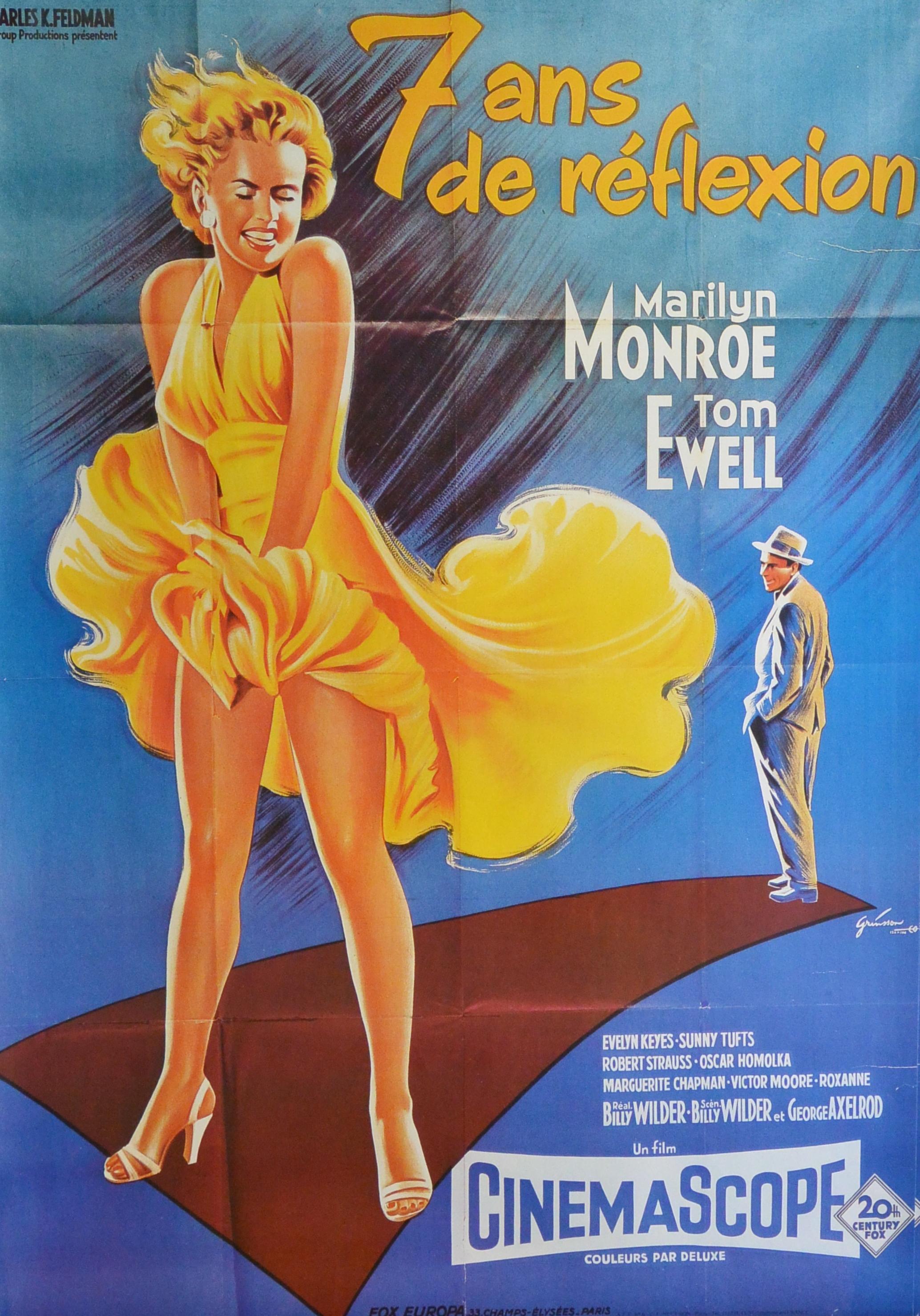 """Cartel cine – """"7 ans de reflexion"""" Marilyn Monroe – El Marco Verde ..."""