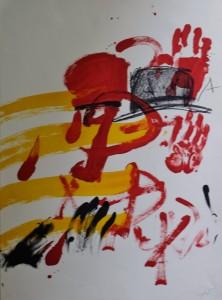 Tapies Antoni, Manos rojas, litografía numerada hc y firmada a lapiz, 75x56 1200 (2)