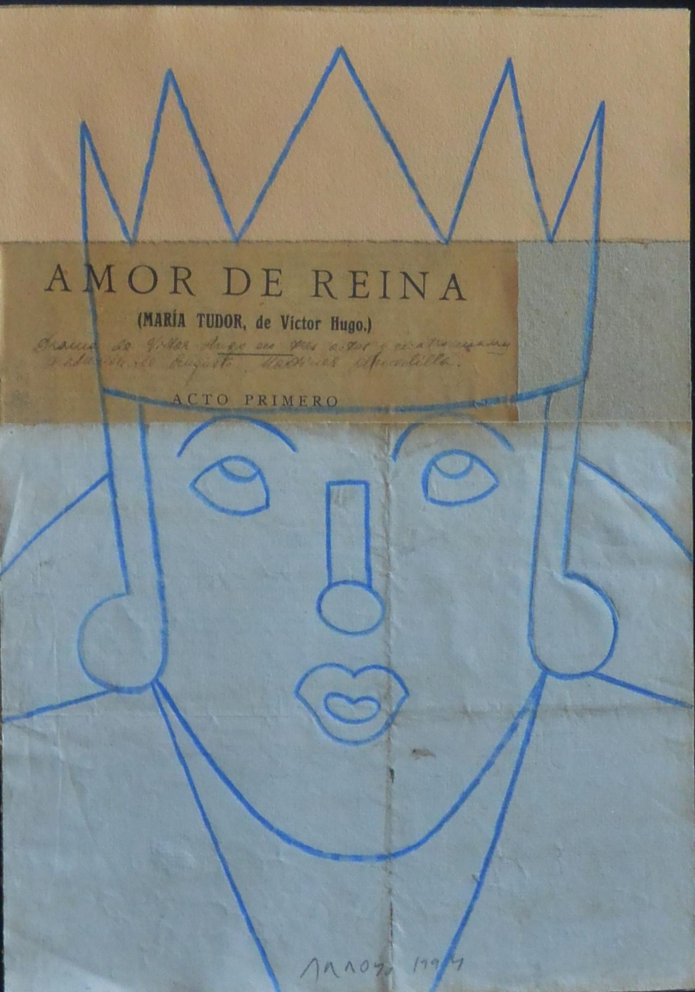 "Eduardo Arroyo – ""Amor de Reina"" dibujo original ceras y collage ..."