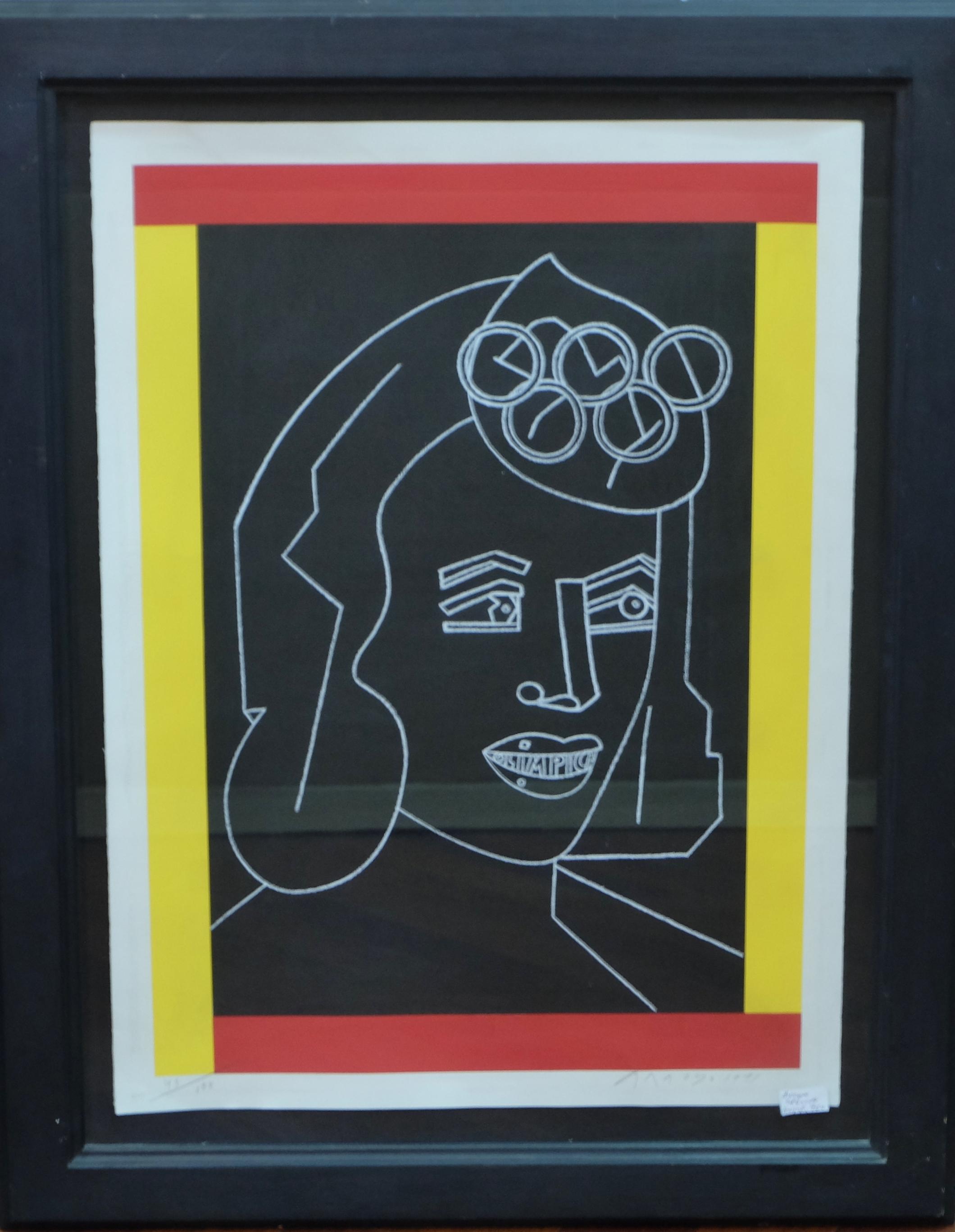 """Eduardo Arroyo – """"Olímpica"""" serigrafía, enmarcado – El Marco Verde ..."""