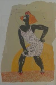 Javier de Juan, Tiempo de blues, serigrafía color, edición 45 ejemplares, numerado y firmado a lápiz, con marco artesanal, papel 120,80 cms. y marco 133x92 cms. 820 (3)