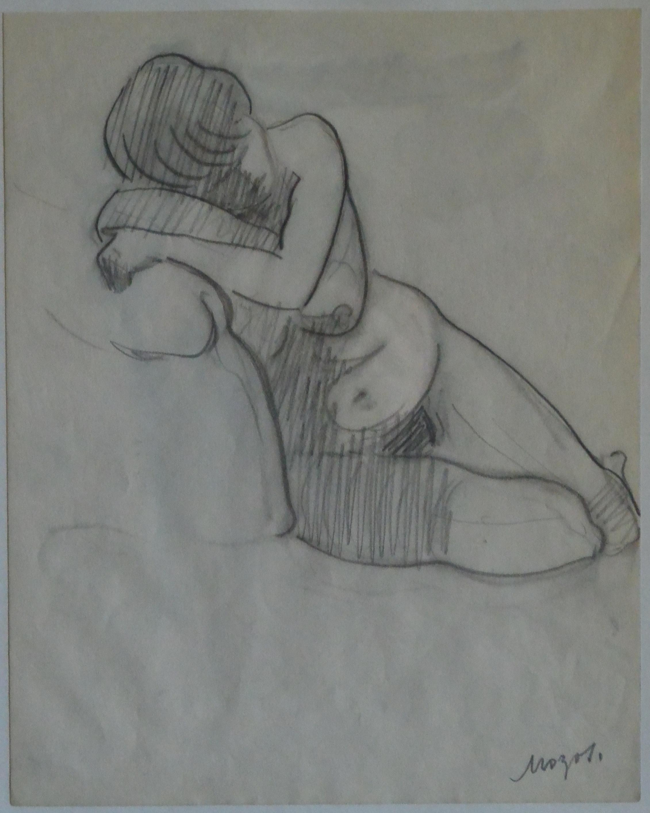 Pedro Mozos Mujer Desnuda Recostada Dibujo Lápiz