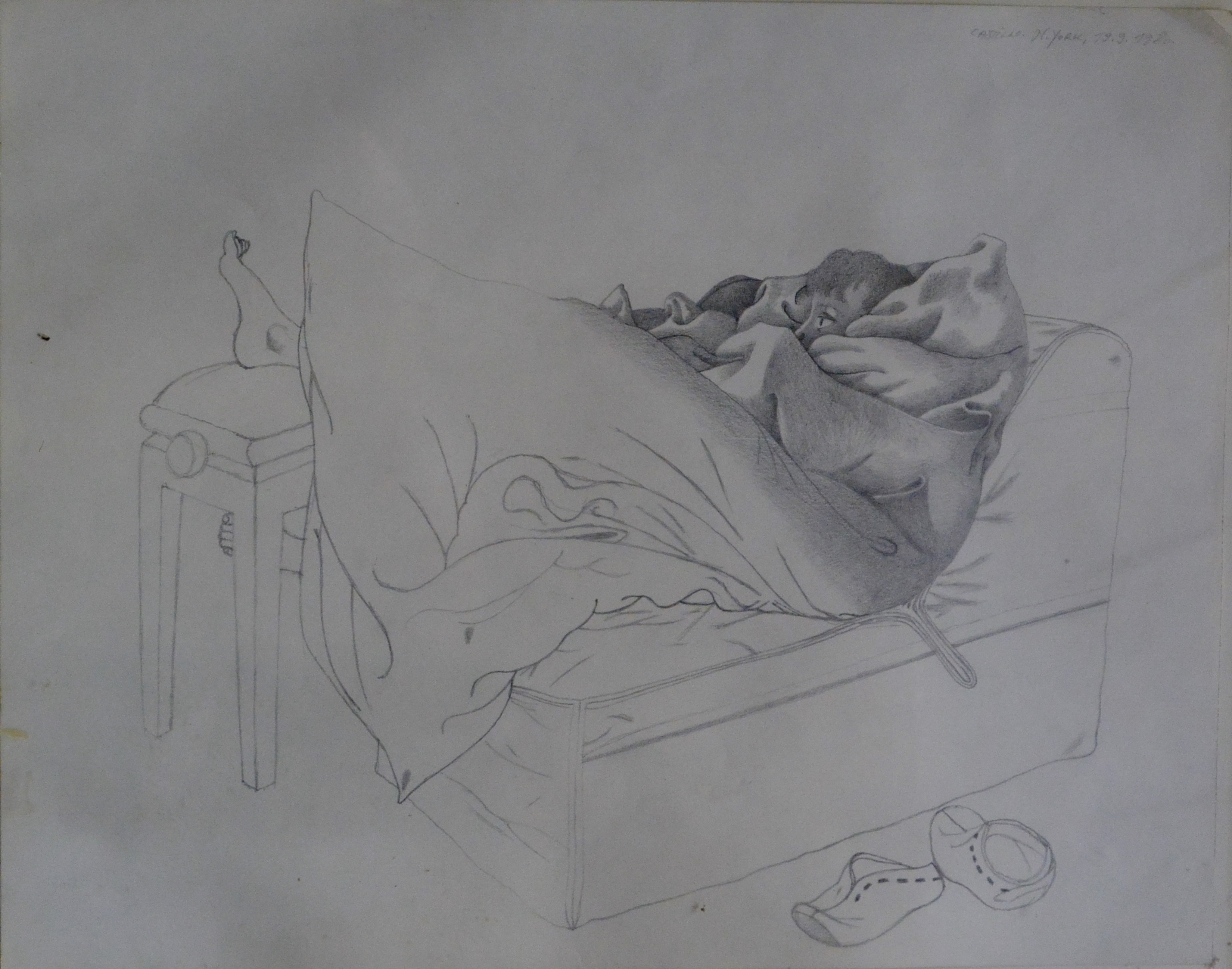 "Jorge Castillo – ""Taggio reposando con los pies descalzos"" dibujo ..."