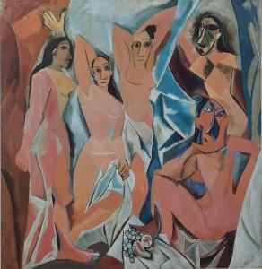 Picasso Pablo, les Demoiselles d´Avignon, cartel original exposición en el Metropolitan Museum New York. Enmarcado. 88x76 cms (3)