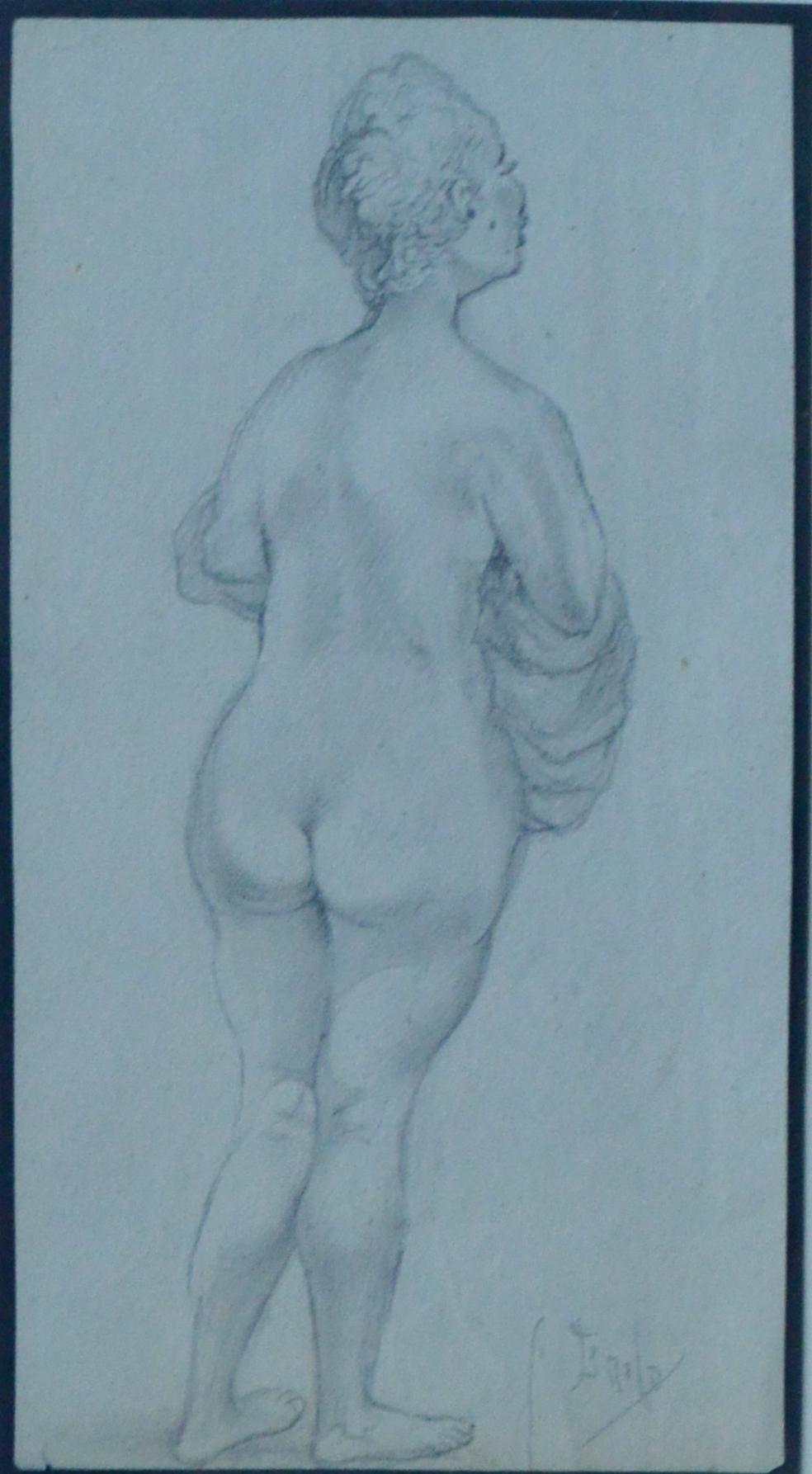 Juan Barba Mujer Desnuda De Espaldas Dibujo Lápiz Papel El
