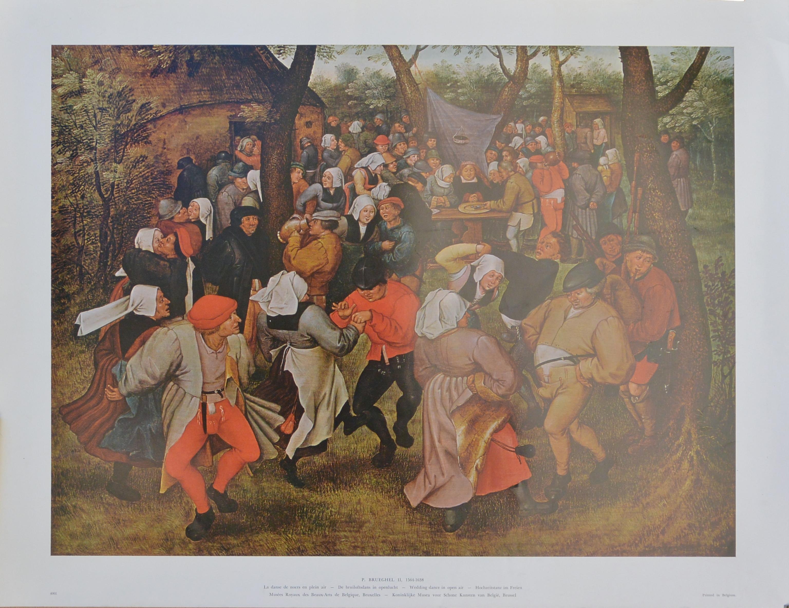 Brueghel Ii Pieter Wedding Dance In Open Air Reproducción 50x65 Cms 6