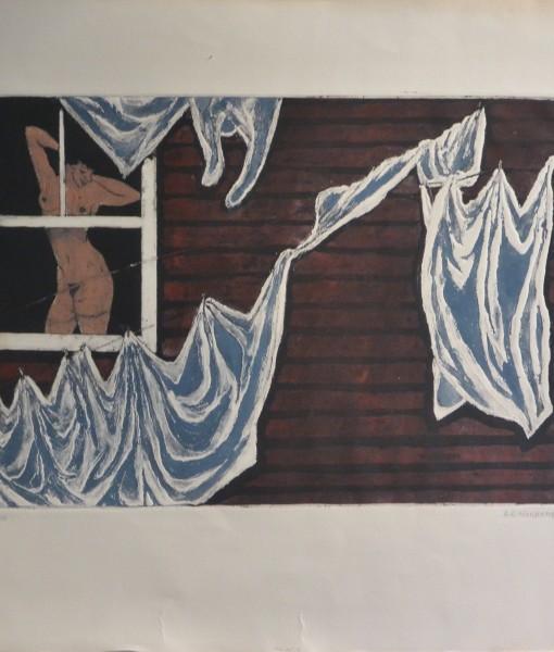 Hochberg A. A. Washday patterns, grabado, edición 90 ejemplares, numerado y firmado a lápiz, huella 32×45 cms. y papel 52,50×61 cms.360 (6)
