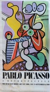 Picasso Pablo, Still  life on a pedestal table, cartel original exposición A Retrospective en el Museum of Modern New York en 1980, 152x84 cms. 300 (11)