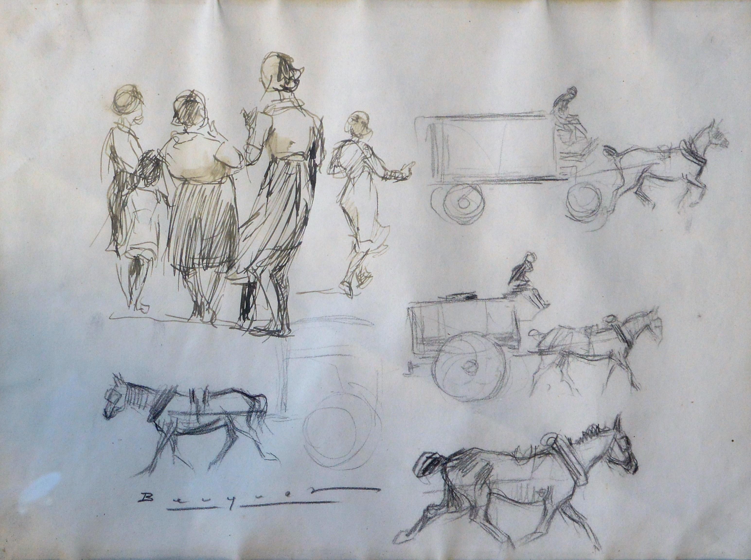 """Carlos Becquer – """"Escenas populares"""" dibujo lápiz papel, enmarcado ..."""