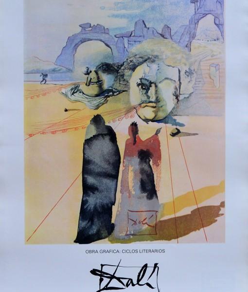 Dalí Salvador, Obra gráfica ciclos literarios, cartel original exposición en 1982, 70x50 cms (6)