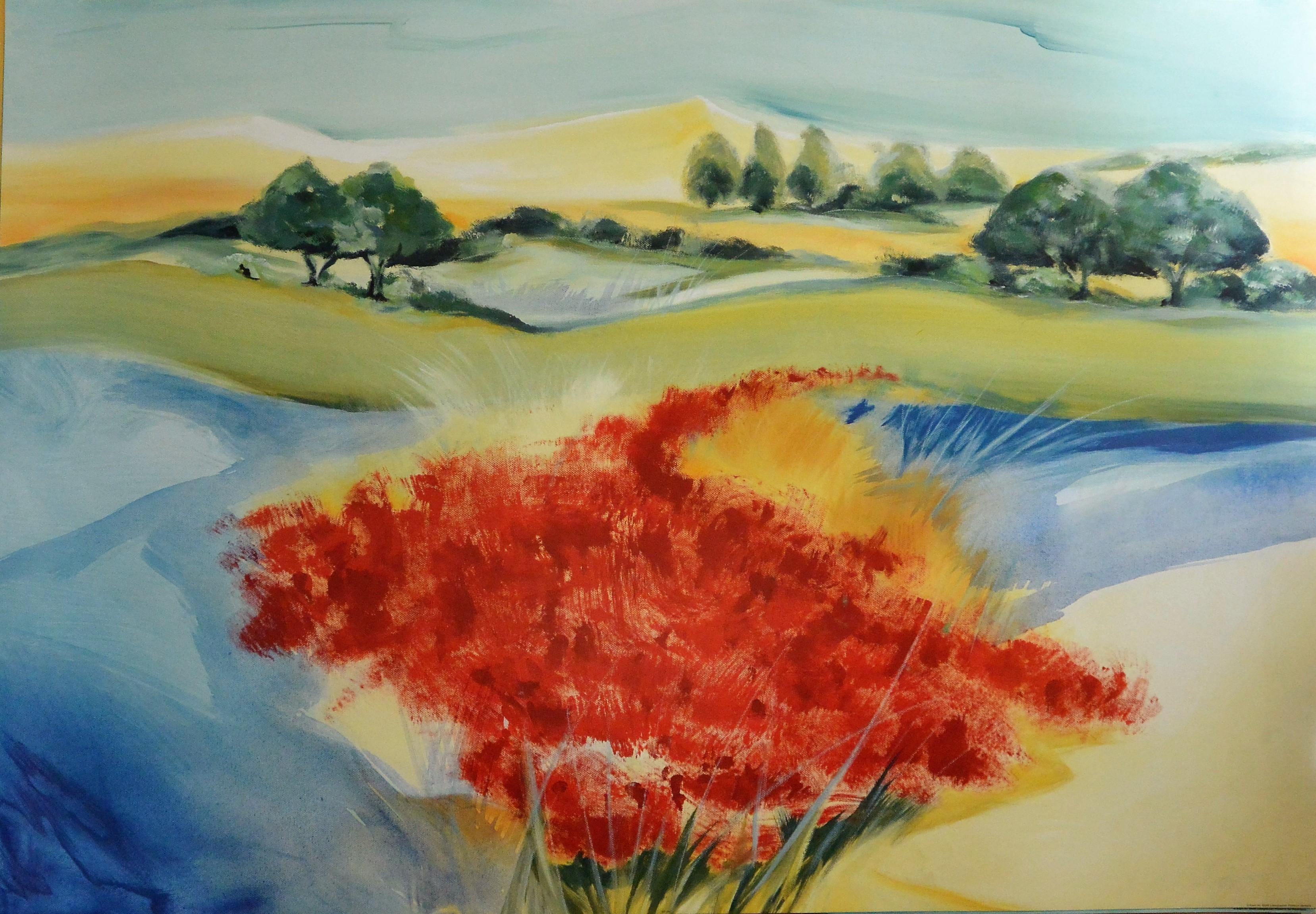 Decoraci n h kirchner paisaje con flores rojas for Decoracion y paisaje s a