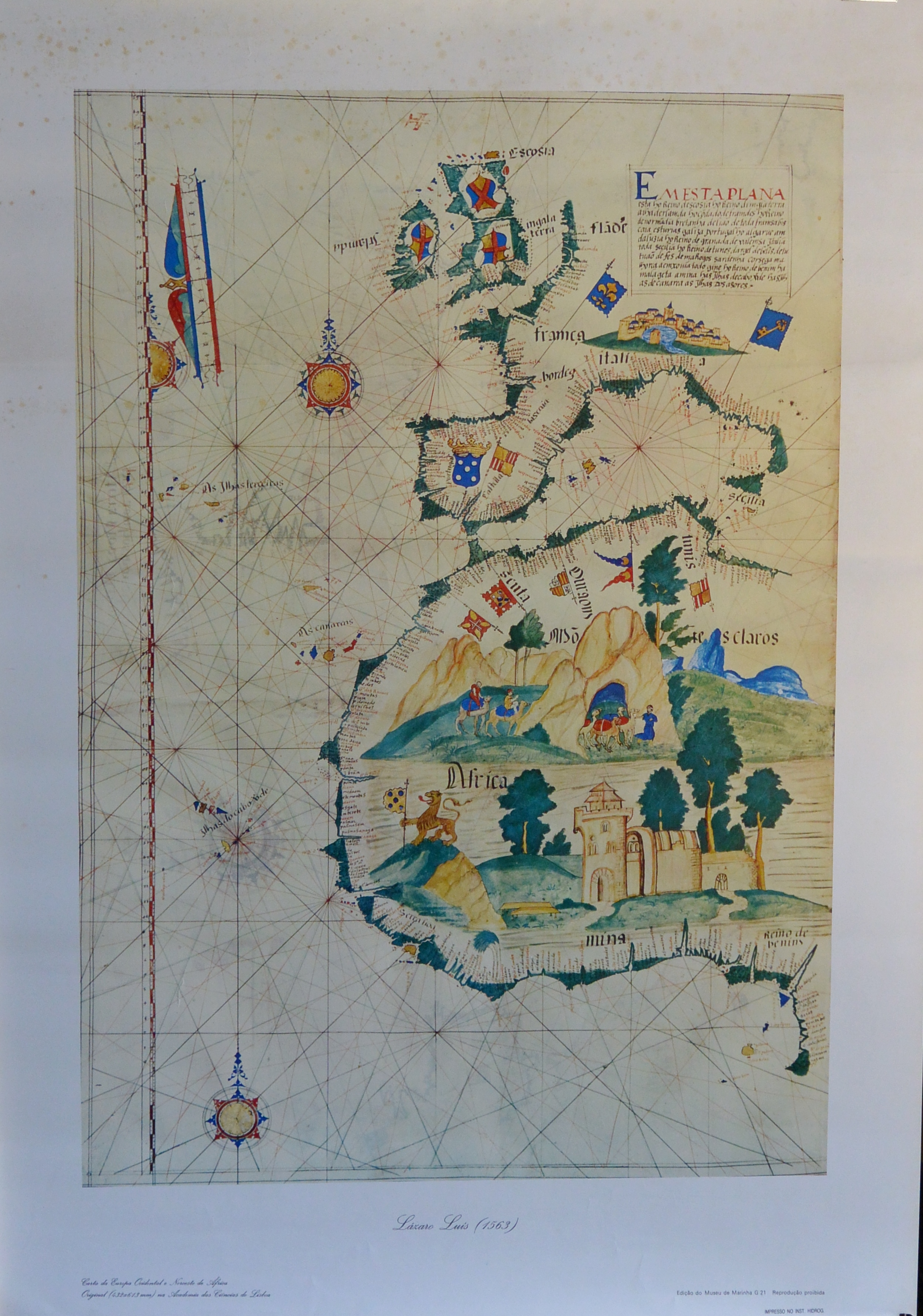 """Luis Lázaro – """"Europa Occidental y Norte de Africa"""" Mapa de 1563 ..."""