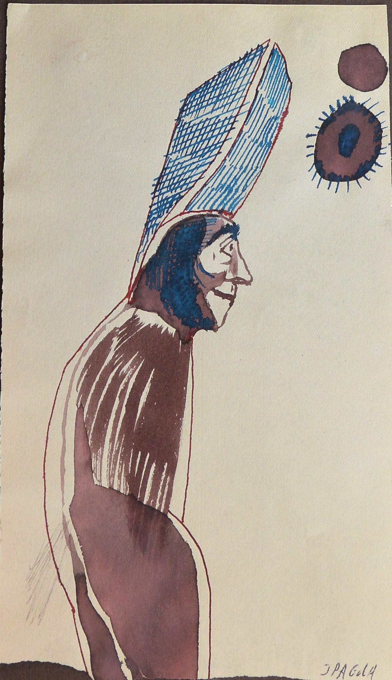 """Javier Pagola – """"La torre en la cabeza"""" dibujo técnica mixta papel ..."""