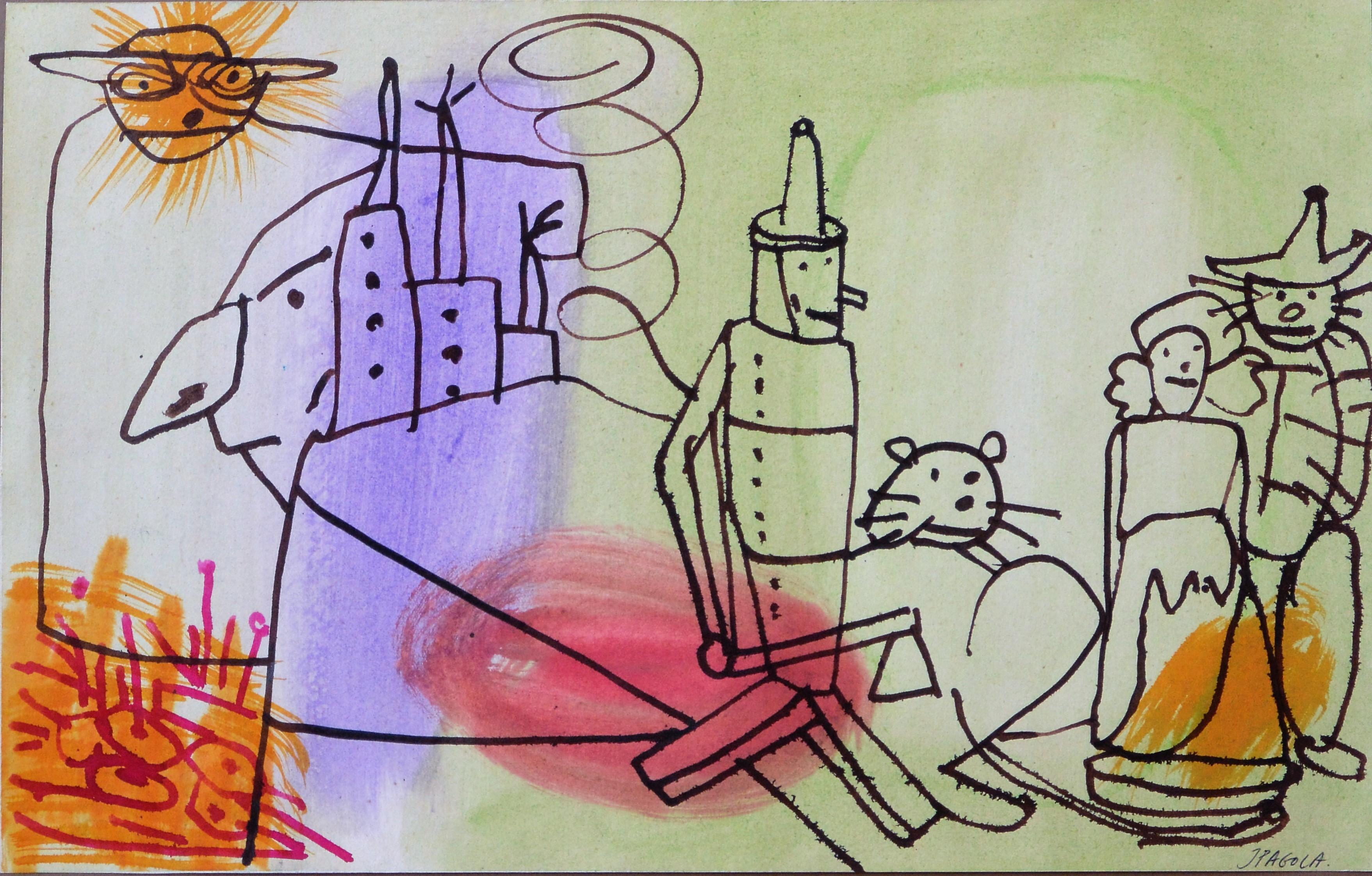 Pagola Javier  Personajes de El Mago de Oz dibujo tcnica mixta