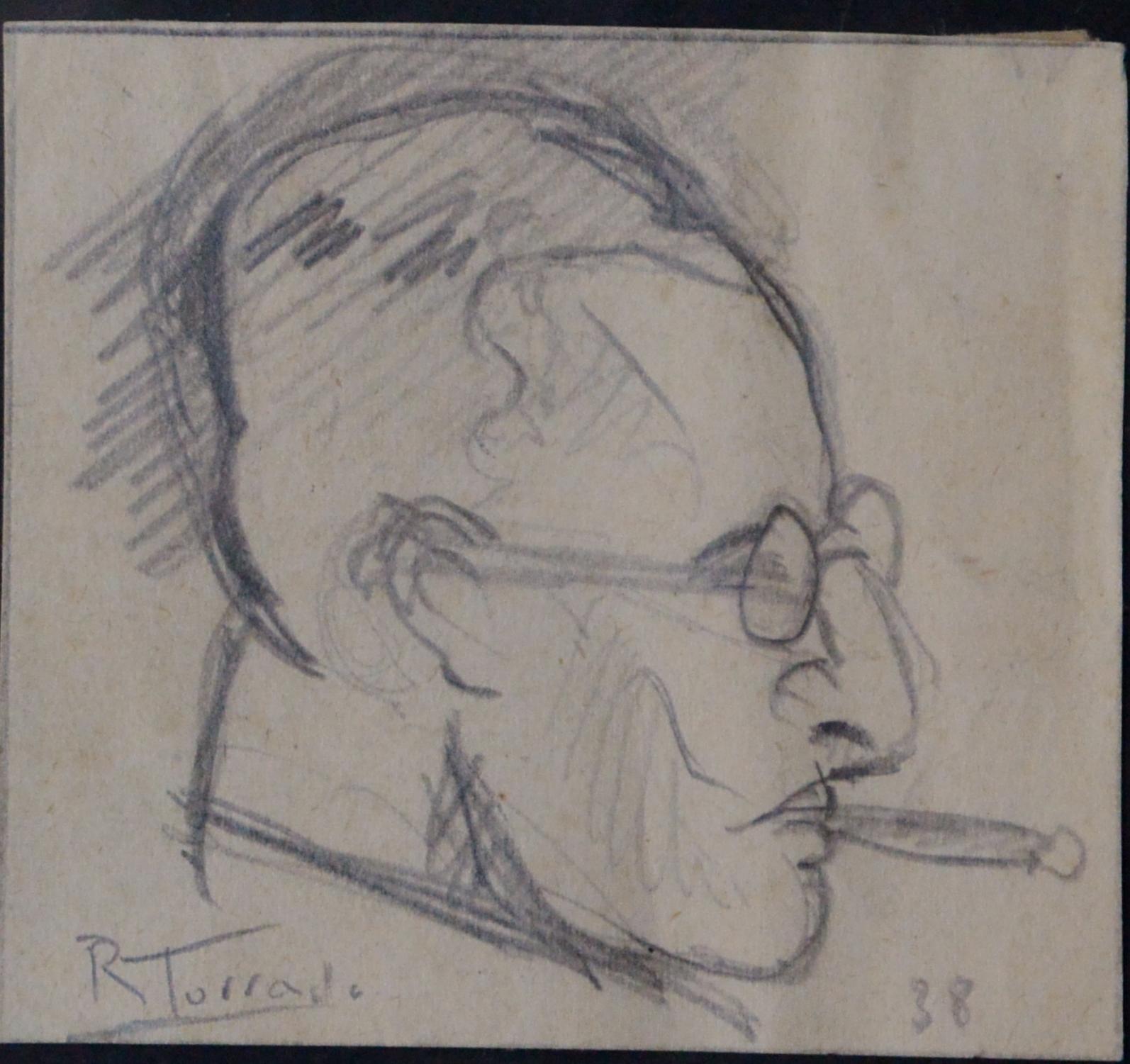 Ramn Torrado  Hombre de perfil fumando dibujo lpiz enmarcado