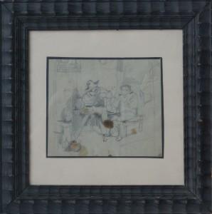 Villodas Ricardo de, en el mesón, dibujo lápiz papel, enmarcado, dibujo 11,50x14 cms. y marco 26x26 cms. 50 (1)