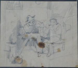 Villodas Ricardo de, en el mesón, dibujo lápiz papel, enmarcado, dibujo 11,50x14 cms. y marco 26x26 cms. 50 (2)