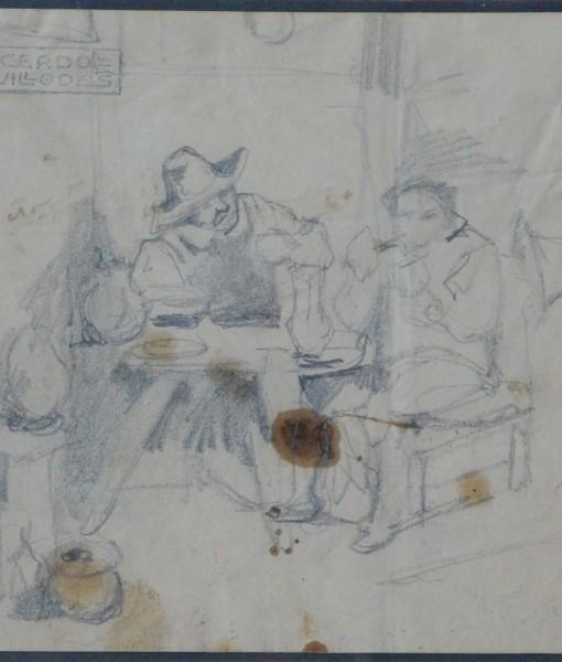 Villodas Ricardo de, en el mesón, dibujo lápiz papel, enmarcado, dibujo 11,50×14 cms. y marco 26×26 cms. 50 (2)