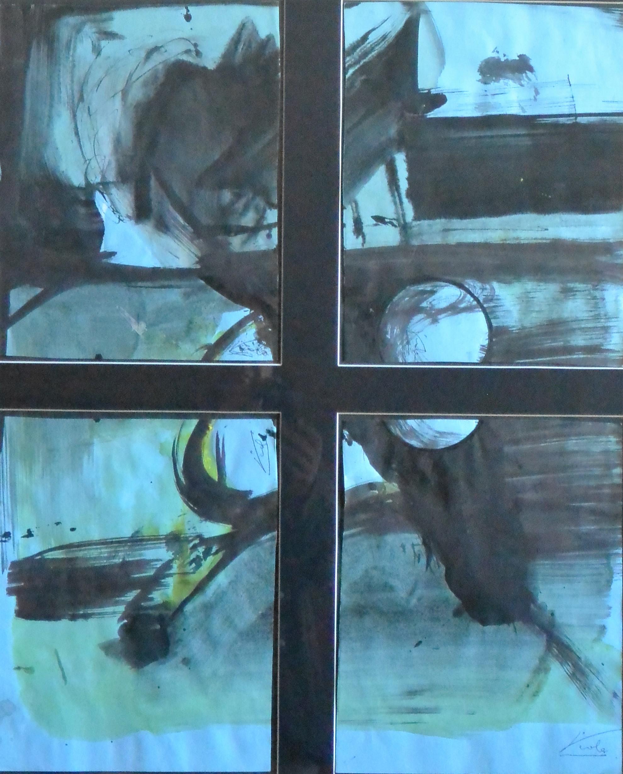 """Manuel Viola – """"Composición abstracta"""" pintura acrílico papel ..."""