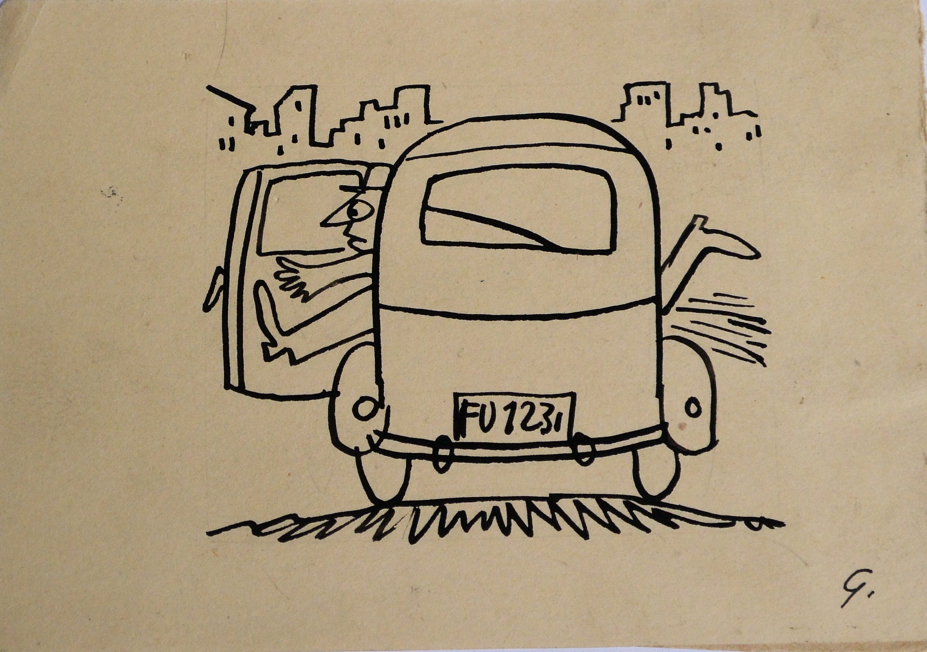 "Lorenzo Goñi – ""Taxi rápido"" dibujo tinta china papel, enmarcado ..."