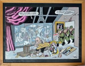 Serafín Rojo, Picasso Guernika, dibujo acuarela papel, enmarcado, dibujo 46x32,50 cms. y marco 41,50x53 cms (3)