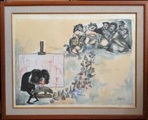 Serafín, Velazquez, acuarela papel, enmarcado, dibujo 50x64 cms. y marco 62x77 cms (2) - copia